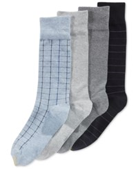 Gold Toe Men's Tattersall Plaid Dress Socks 4 Pack Pack D