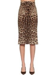 Dolce And Gabbana Printed Charmeuse Pencil Midi Skirt Leopard