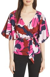 Tracy Reese Stretch Silk Wrap Blouse Bright Floral