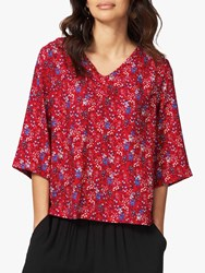 Brora Floral Print Blouse Chilli China Blue