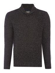 Linea Men's Nouvel Shawl Neck Textured Jumper Grey