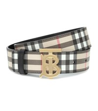 Burberry Tb Check Leather Trimmed Belt Beige