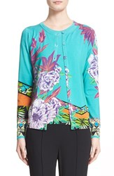 Women's Etro 'Hawaiian Floral' Stretch Silk Knit Cardigan