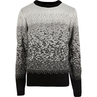 River Island Mensbellfield Black Ombre Christmas Sweater
