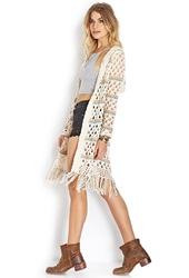 Forever 21 Boho Daze Open Knit Cardigan Cream Taupe