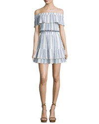 Loveshackfancy Elizabeth Striped Off The Shoulder Mini Dress Blue White Blue White