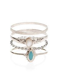 Accessorize Sterling Silver 4 X Thai Stacking Rings Turquoise