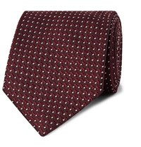 Tom Ford 8Cm Pin Dot Silk Jacquard Tie Burgundy