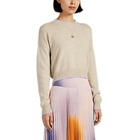 Barneys New York Tipped Cashmere Crop Sweater Beige Tan