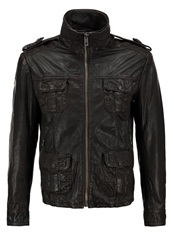 Superdry New Brad Hero Leather Jacket Brown