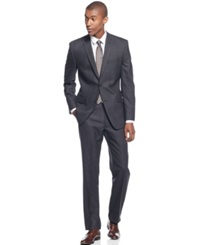 Andrew Marc New York Marc New York By Andrew Marc Charcoal Windowpane Classic Fit Suit Gray