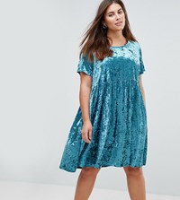 Alice And You Smock Dress In Crushed Velvet Green