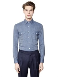 Salvatore Piccolo Slim Fit Cotton Denim Jacquard Shirt