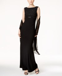 Jessica Howard Sequined Cutout Back Gown Black