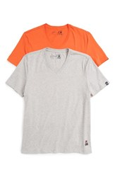 Psycho Bunny Men's Cool Colors 2 Pack V Neck T Shirt Heather Grey Kumquat
