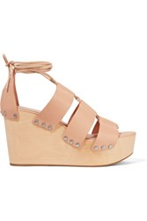 Loeffler Randall Ines Lace Up Leather Wedge Sandals Beige
