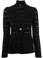 Giorgio Armani Grid Fitted Jacket Black