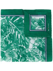 Kiton Floral Print Pocket Square Men Linen Flax One Size Green