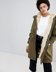Parka London Connie Military Coat With Faux Fur Lining Military Green