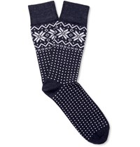 Corgi Fair Isle Wool Blend Socks Navy