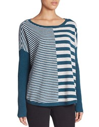 Lord And Taylor East West Striped Cashmere Sweater Teal Heather