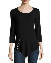 Neiman Marcus 3 4 Sleeve Scoop Neck Top Black
