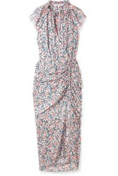 Veronica Beard Brynlee Wrap Effect Ruched Floral Print Silk Voile Midi Dress Blue