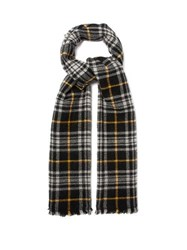 Isabel Marant Suzanne Checked Virgin Wool Blend Scarf Black
