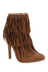 Nature Breeze High Point Suede Fringe Heel Stiletto Bootie Brown