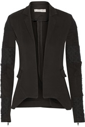 Preen Line Ruby Patchwork Stretch Cotton Twill Blazer Black