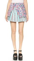 Suno Burst Pleat Miniskirt All Over Tulips Stripes Combo