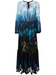 Romance Was Born Tail Feather Chiffon Gown Blue