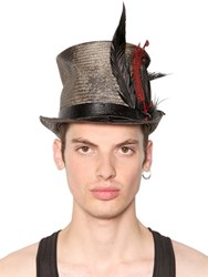 Move Vintage Effect Straw Top Hat W Feathers