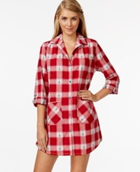 Lucky Brand Long Sleeve Flannel Sleepshirt Red Plaid
