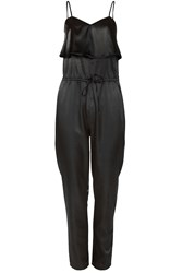 Alice And You Strappy Satin Jumpsuit Black