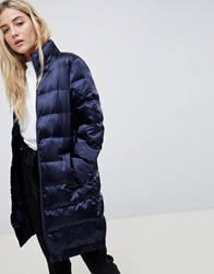 Blend She Longline Sateen Quilted Coat Navy