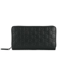 Gucci Embossed Zip Wallet Black
