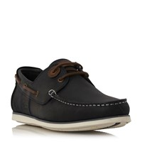 Barbour Capstan Eyelet Lace Up Boat Shoes Navy