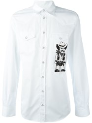 Dolce And Gabbana Cowboy Applique Western Shirt White