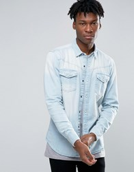 Pull And Bear Pullandbear Denim Shirt In Light Wash Blue In Regular Fit Light Blue