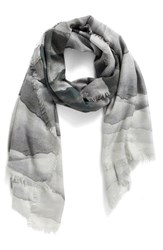 Nordstrom Women's Prismatic Color Play Cashmere And Silk Scarf Grey Combo