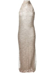 Romeo Gigli Vintage Lace Overlay Dress Neutrals
