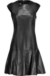 Michael Kors Collection Pleated Leather Mini Dress Black