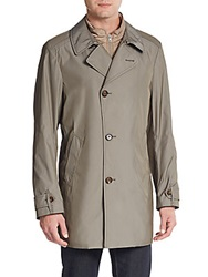 Allegri Button Front Trench Coat Olive