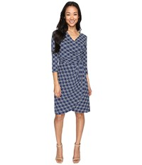 Hatley Faux Wrap Dress Cross Hatch Navy Women's Dress