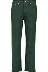 Etre Cecile Cropped Mid Rise Straight Leg Jeans Army Green