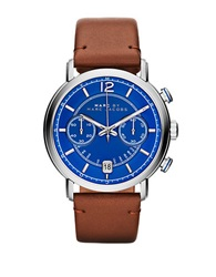 Marc By Marc Jacobs Mens Fergus Stainless Steel And Leather Watch Brown