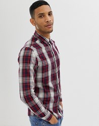 Burton Menswear Shirt In Burgundy Check Red