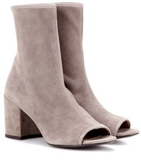 Stuart Weitzman Bigkoko Bingo Leather Peep Toe Ankle Boots Grey