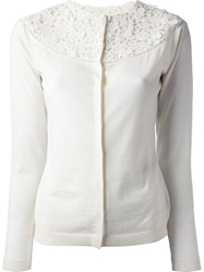 Valentino Floral Lace Cardigan White